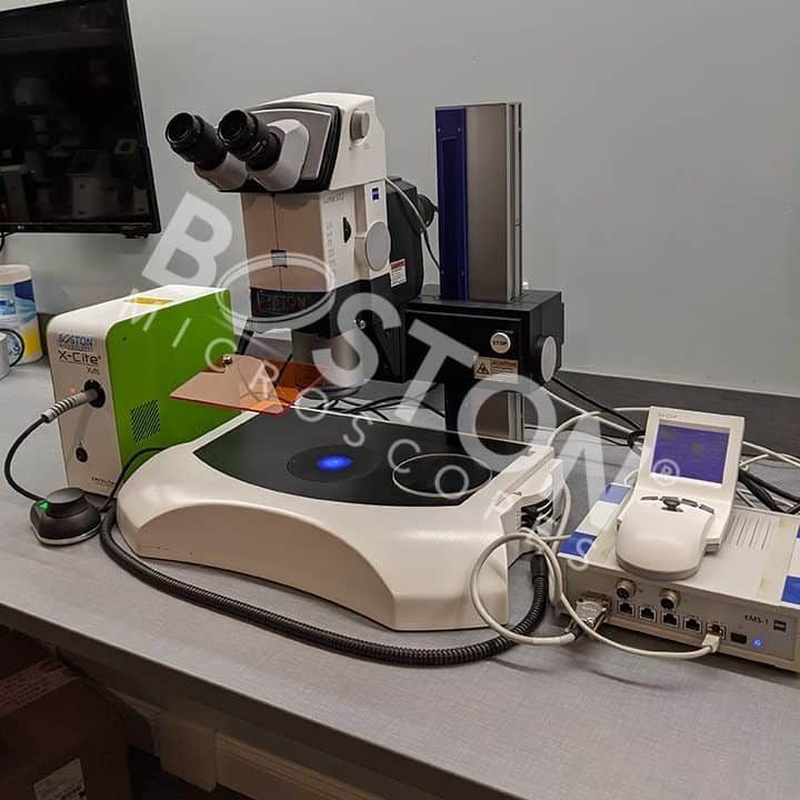 Zeiss Discovery Lumar V12 Trinocular Fluorescence Stereo Microscope with Transmitted Light Base