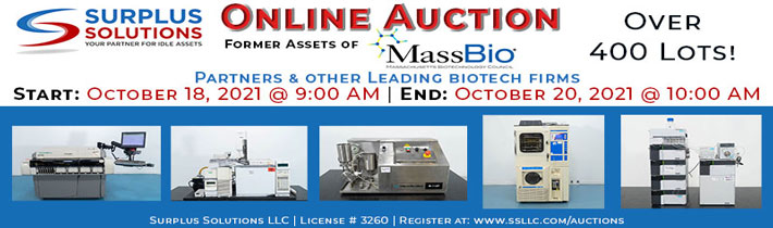 Auction: Former Assets of Massbio Partners and Other Leading Biotech Firms