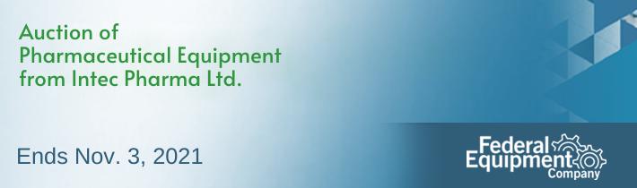 Auction of Pharmaceutical Equipment from Intec Pharma Ltd.