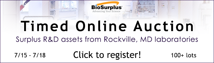 BioSurplus to Conduct Auction of Surplus Lab Assets from Precigen, Inc. in Rockville, MD.